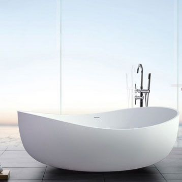 71 Inch Contemporary Oval Freestanding Stone Resin Soaking Bathtub with Center Drain in Matte White