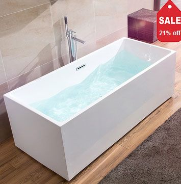 67 Inch Rectangle Freestanding Acrylic White Bathtub with Chrome Linear Overflow and Center Drain