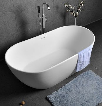 Oval Shape 64 Inch Freestanding Matte White Stone Resin Soaking Bathtub with Overflow and Center Drain