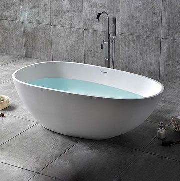 Oval Freestanding Soaking Bathtub Stone Resin with Center Drain & Overflow in Matte White