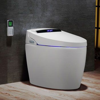 Modern Smart One-Piece 1.27 GPF Floor Mounted Elongated Toilet and Bidet with Seat