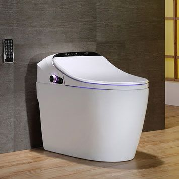 Modern Smart One-Piece 1.27 GPF Floor Mounted Elongated Toilet and Bidet J021124-US-WHITE-ALO with Seat in White